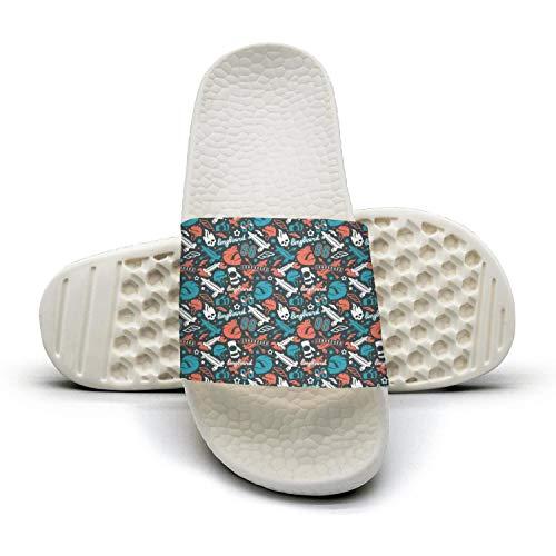 GTGTH Slides Shoes Sandal Slippers Longboarding Skull Print Indoor Lightweight