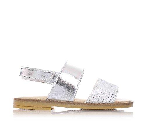 FLORENS - Sandale gris argenté en cuir, avec velcro, strass décoratifs sur la bande antérieure en suède, coutures visibles et semelle en caoutchouc, Fille, Filles
