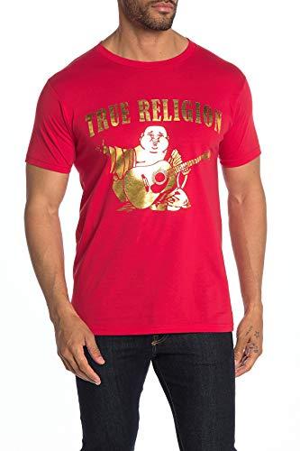 True Religion Men's Metallic Foil Buddha Tee T-Shirt (Small, Red)