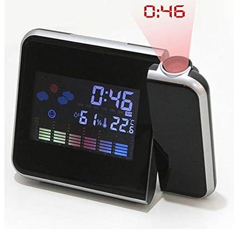 Edhua Reloj de proyección de Pantalla LED en Color,función de visualización de la Humedad en Tiempo y Temperatura Reloj Digital con Alarma: Amazon.es: Hogar