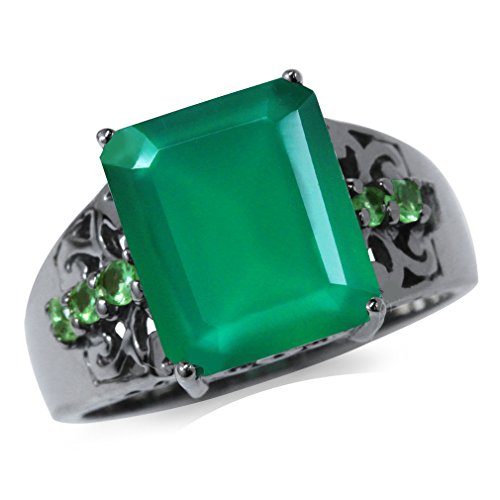 5.03ct. Natural Emerald Green Agate & Tsavorite 925 Sterling Silver Filigree Cocktail Ring Size 10