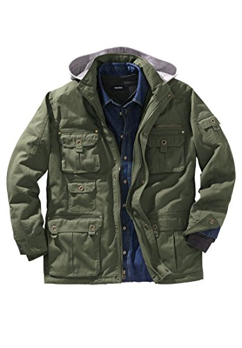 Boulder Creek Men's Big & Tall Multi-Pocket Lined Twill Jacket, Olive Tall-XL