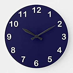 Enidgunter Solid Color Navy Blue Large Wall Clock Decor for Bedroom Nursery Round Silent Wood Clock Art for Kids Girls Boys Room 12 inches