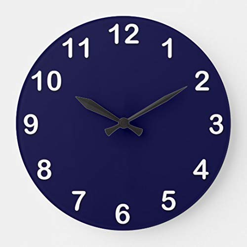(Enidgunter Solid Color Navy Blue Large Wall Clock Decor for Bedroom Nursery Round Silent Wood Clock Art for Kids Girls Boys Room 12)