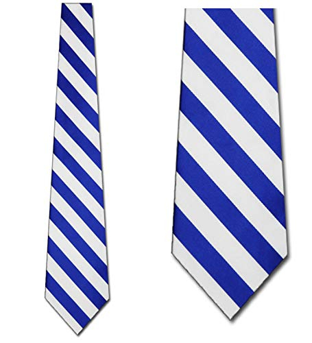 (Mens College Royal Blue and White Striped Ties Stripes Necktie)