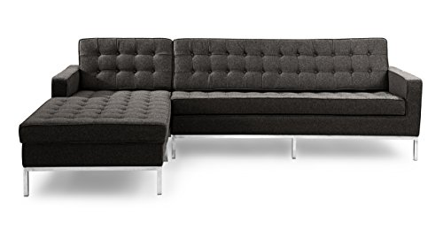 Kardiel Florence Knoll Style Left Sectional Sofa, Charcoal Cashmere Wool