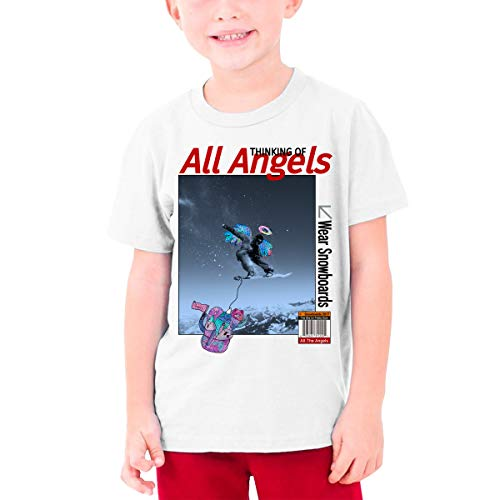 YUNLIHO Cool Customized Thinking of All Angels Wear Snowboards T-Shirt Short Sleeve for Adolescent White M ()