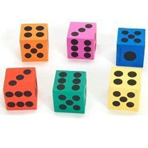 Big Foam Playing Dice (4-Pack of 12) - Foam Playing Dice