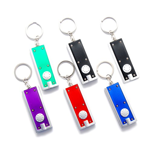 Ultra Bright Led Keychain Light (Favorict Colorful New York Ultra Bright LED Flashlight Keychain Portable Mini Light Keychain, Batteries Included (Pack 6, Assort Color))