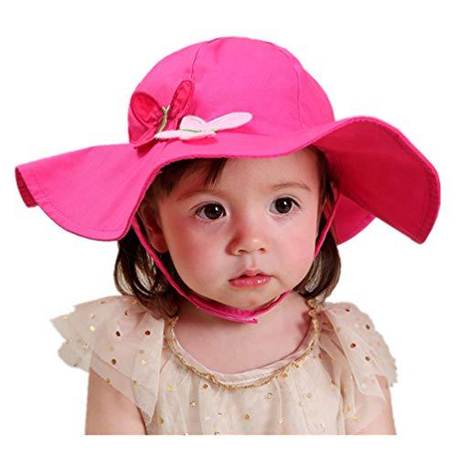 Connectyle Toddler Girls UPF 50+ UV Sun Protection Hat Cotton Wide Brim Summer Bucket Beach Sun Hats Rose Red