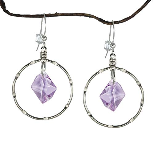 36f01c9c7 Amazon.com: *SALE* Fast-and-Free-Shipping - Violet Swarovski Cosmic Crystal  Hoop Earrings: Handmade