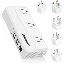 Power Converter BESTEK 220V to 110V 3-Outlet and 4-Port USB Travel Voltage Transformer with Type G/D/M/EU/AU/US Travel Plug Adapters,200W