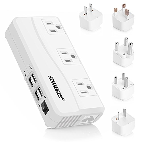 BESTEK International Power Adapter, 220V to 110V Step Down Travel Voltage Converter with 4-Port USB Including US/AU/EU/UK//India/South Africa Plug Adapter, 200W (Transformer Uk Voltage)