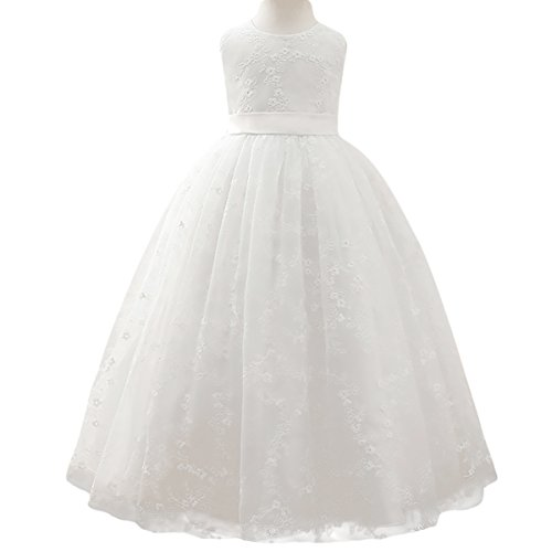 Little/Big Girls Flower Lace Tulle Dress Floor Length Pageant Party Wedding Bridesmaid Dance Evening Gown