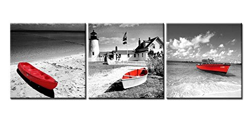 (Canvas Print Wall Art Painting For Home Decor Black And White Beach Historic Old Lighthouses Seascape With Red Boats In Vintage Style In Bristol Dot Coastal Maine England 3 Pieces)