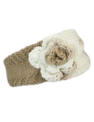 Dahlia Women's Winter Wide Knit Headband - Flower - Khaki/Gray/White