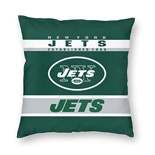 (MamaTina Design Square Pillowcase New York Jets Football Team Sofa Cushion Cover Soft Pillow Cover Invisible Zipper Pillow Case Protector for Bed 1 Pc - 22x22 Inch)