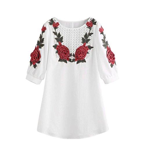 Ouneed Moda mujer dama blanca flor bordado encaje vestido de fiesta de noche mini Blanco