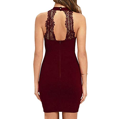 Women Solid O-Neck Sleeveless Backless Lace Party Dress Sexy Cocktail Midi Dresses (Wine, XXL) by Sinaou (Image #5)