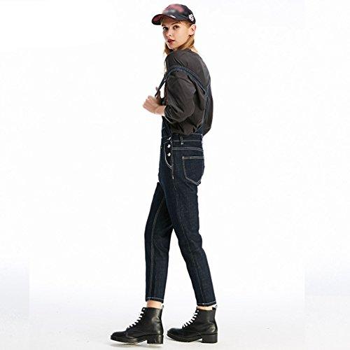 Slim Pantaloni Fit Overalls Marino Casual Moda Blu Zhiyuanan Cargo Salopette In Da Donna Denim wqttFA