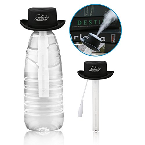 Ashbringer Personal Mini Air Humidifier- Portable Cool Mist Humidifier Diffuser,Creative Cowboy Hat Design for Office/Car/Home (Black)