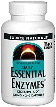 Source Naturals Essential Enzymes 500mg Bio-Aligned Multiple Enzyme Supplement Herbal Defense for Digestion, Gas, Constipation & Bloating Relief - Supports A Strong Immune System - 240 Capsules