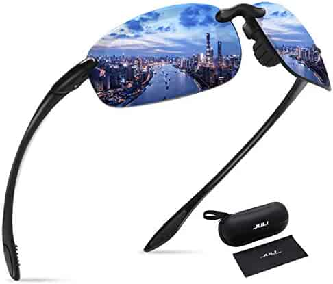 637cb344fc8 JULI Sports Sunglasses for Men Women Tr90 Rimless Frame Brand Designer for  Running Fishing Baseball Driving