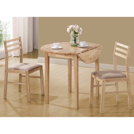 Three-Piece Breakfast Table Set in Standart Height, Casual Style, Natural Finish, Kitchen Furniture, Round Shaped, Wood Construction, BONUS E-book