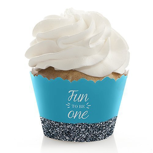 Birthday Boy Cupcake - Big Dot of Happiness Fun to be One - 1st Birthday Boy - Birthday Party Decorations - Party Cupcake Wrappers - Set of 12