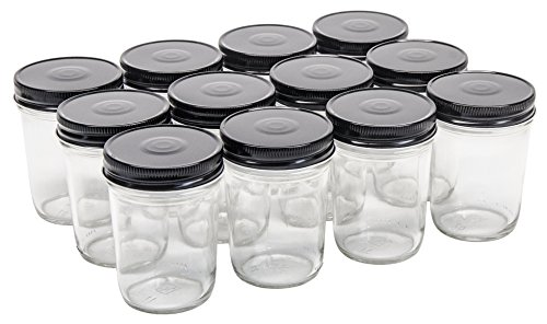 North Mountain Supply 8 Ounce Glass Regular Mouth Tapered Mason Canning Jars - with Black Safety Button Lids - Case of 12 ()
