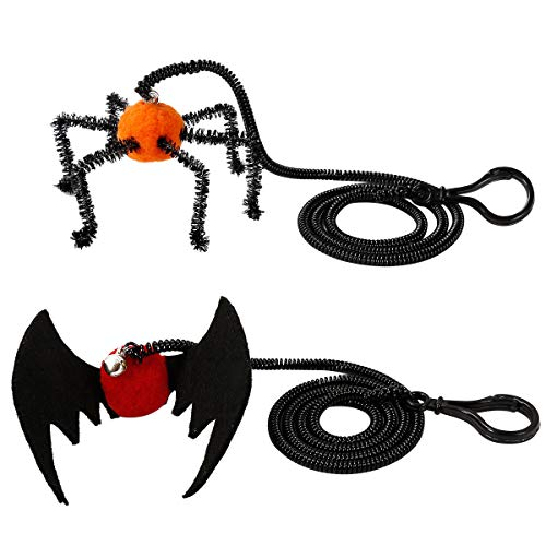 POPETPOP Halloween Cat Toys-2pcs Cat Spring Toys New Cat Toys Super Long Elastic Rope Best Gift for Kitty (Spider + Bat) ()
