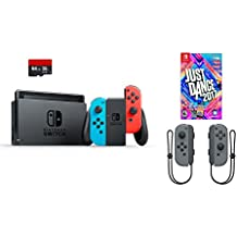 Nintendo Switch 4 items Bundle:Nintendo Switch 32GB Console Neon Red and Blue Joy-con, 64GB Micro SD Memory Card and an Extra Pair of Nintendo Joy-Con (L/R) Wireless Controllers Gray,Just Dance 2017