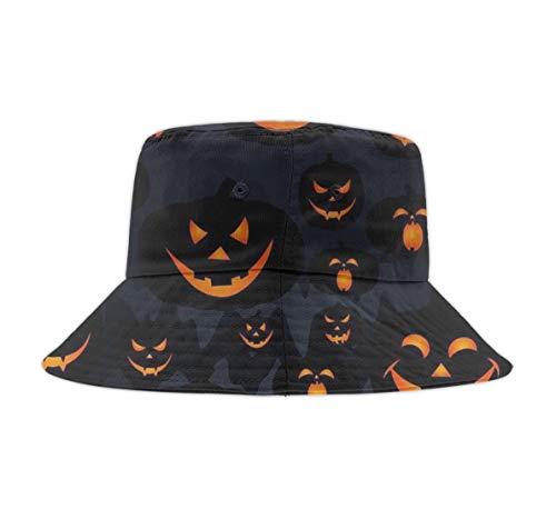 Fashion Packable Reversible Halloween Pumpkin Patterns Printed Fisherman Bucket Sun Hat, Many Patterns