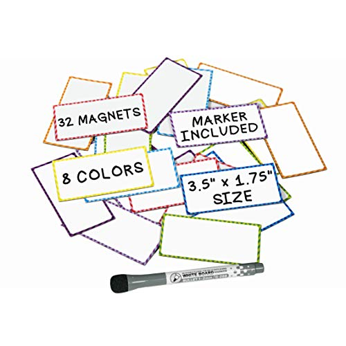 Small Magnetic Dry Erase Labels - (32 Count) w/Dry Erase Markers and Eraser Pen - Great For Teachers Classroom Organization and Locker Accessories - Use it as Cubicle Name Tag Refrigerator Magnet
