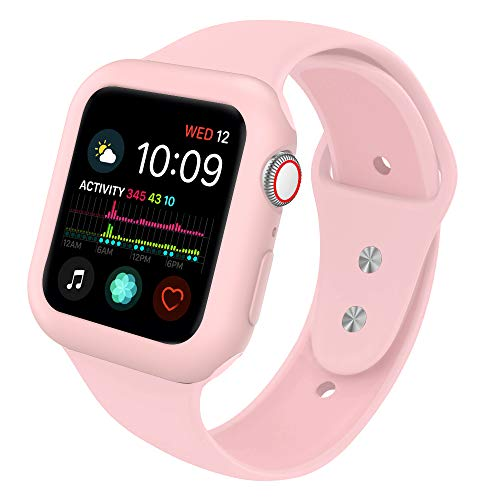 Ksaier Compatible with Apple Watch Band 40mm 44mm with Case, Shock-Resistant Protective Case with Soft Silicone Sport Strap, Compatible Apple Watch Series 4 Sport Edition