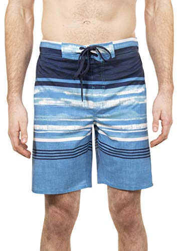 LAGUNA Mens Beach Break Stretch Stripe Boardshorts Swim Trunks, UPF 50+, Blue/Navy, S ()