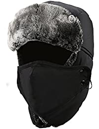 New Winter Trapper Hat Ushanka Russian Style Hat With Ear Flap Chin Strap and Windproof Mask