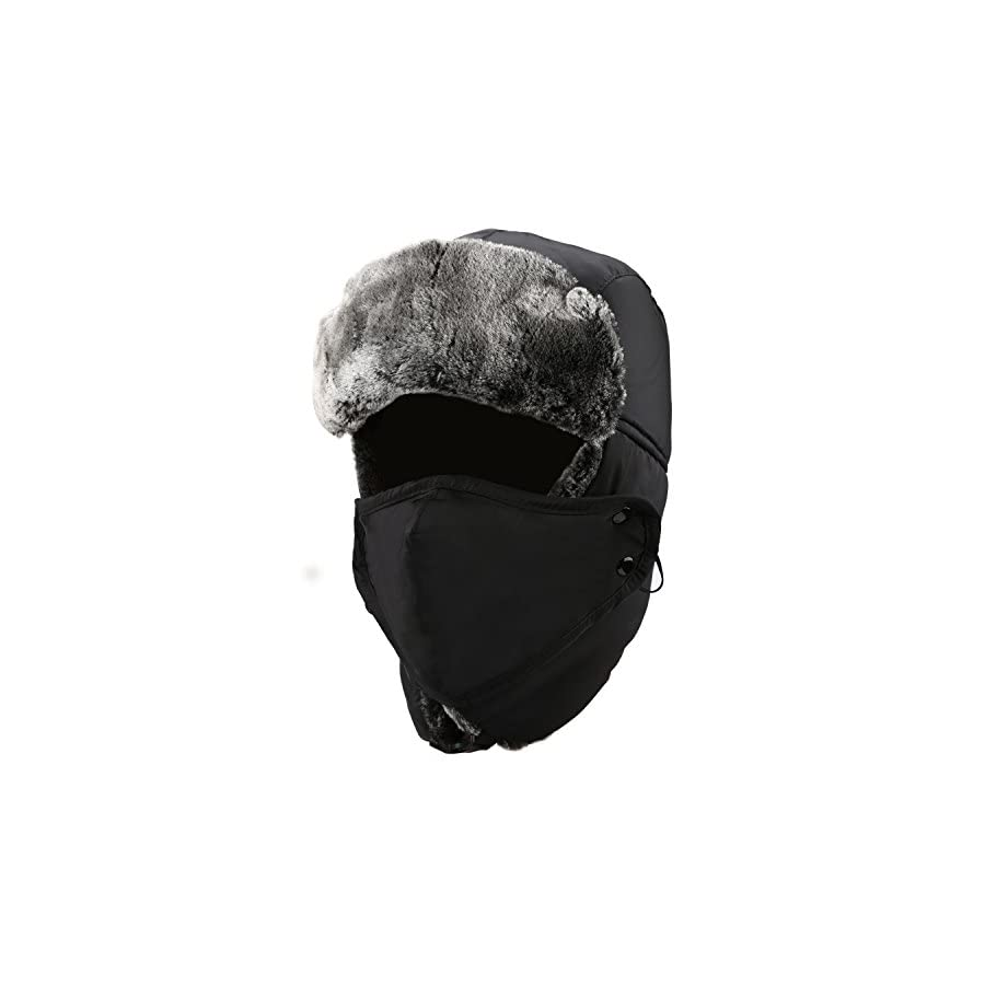mysuntown Winter Trapper Warm Hat with Windproof Mask 2 Pieces Ushanka Russian Style Hat for Men and Women