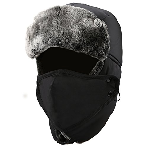 Mysuntown 2017 New Style Unisex Winter Trooper Hat Ushanka Ear Flap Chin Strap and Windproof Mask(Black Color)