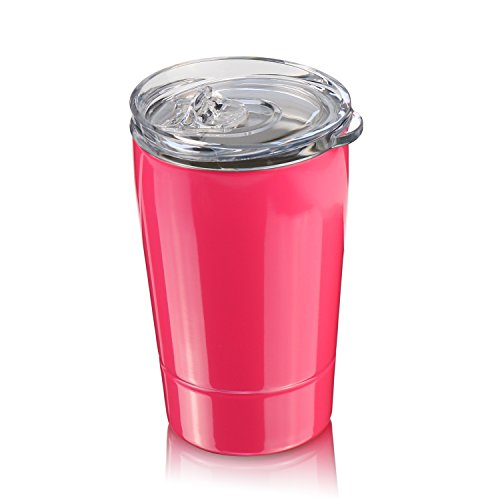 Colorful PoPo Toddler and Kid Tumbler Cup with Lid, Double Wall Stainless Steel (Pink, 12 Oz)