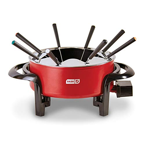 Dash DFM100GBRD04 Electric Fondue Set with Nonstick Pot, 8 Colored Forks & Temperature Control for for Cheese, Chocolate, Steak, Poultry, Seafood + More + More, 3 QT, Red (Electric Fork)