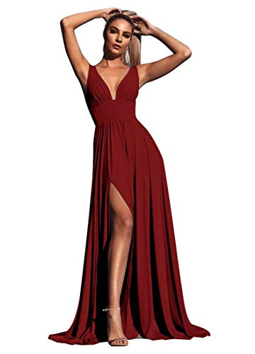 Bridesmaid Dress Long V Neck Backless Split Prom Dress Evening Gowns for Women 2019 Burgundy Size 4