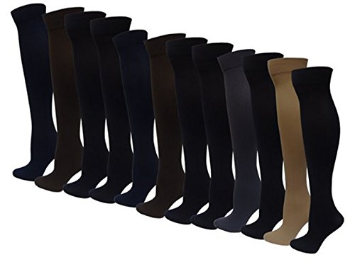 12 Pairs Pack Women's Opaque Spandex Knee High Trouser Socks Size 9-11 (Multicolor)