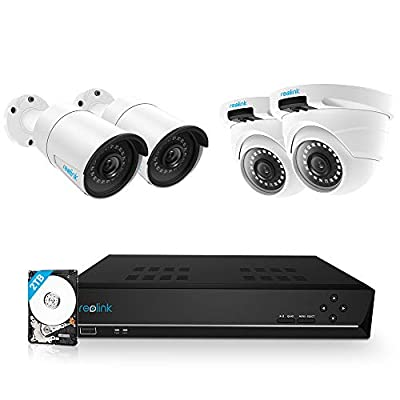Reolink 8CH 5MP PoE Home Security Camera System, 2 x Bullet & 2 x Dome Wired 5MP Outdoor PoE IP Camera, 5MP 8 Channel NVR Security System w/ 2TB HDD for 7/24 Recording Super HD RLK8-410B2D2-5MP