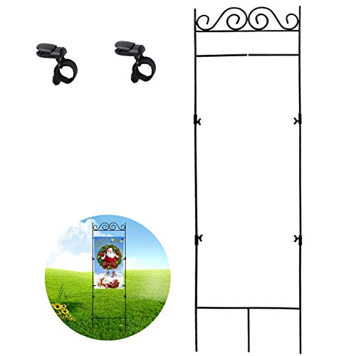 (HOOSUN Garden Flag Stand, Premium Garden Flag Pole Holder Metal Wrought Iron Powder-Coated Weather-Proof Paint 45.5