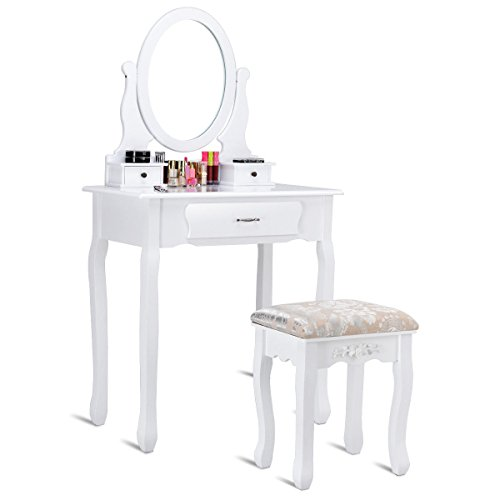 Giantex White Bathroom Vanity Jewelry Makeup Dressing Table Set W/Stool Mirror Wood -