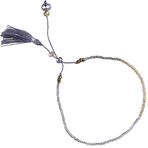 KELITCH New Shell Seed Beads Single Wrap Bracelet Pendant Tassels Hand Woven Fashion Jewelry - 7 Inch Bracelet Single Strand