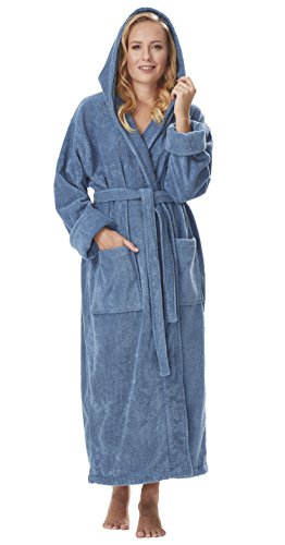 - Arus Women's Organic Cotton Hooded Full Length Turkish Bathrobe, Blue Grey, XL