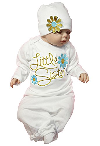 Newborn Baby Girl Take Home Outfit Baby Girl Gift Set Baby Gown (0-3 Months, Blue)