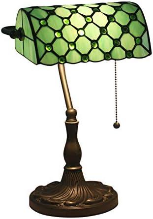 LITFAD Vintage Tiffany Beads Table Light Art Glass 1 Light Green Banker Lamp Bedside Table Lamp LED Desk Lamp Reading Light